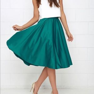 Lulu's Dark Teal Midi Skirt